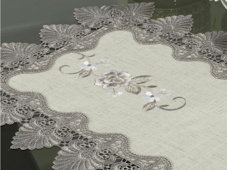 Trilho de Mesa com Bordado Richelieu 40x85cm Avulso - Eliza Bege e Castanho - Dui Design