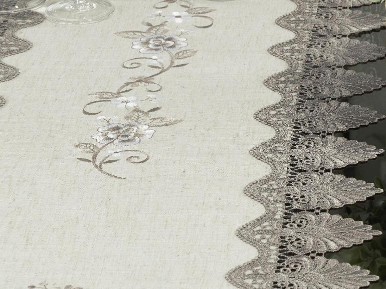 Trilho de Mesa com Bordado Richelieu 45x170cm Avulso - Eliza Bege e Castanho - Dui Design