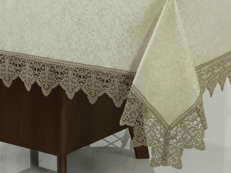 Toalha de Mesa com Bordado Guipir Fácil de Limpar Quadrada 4 Lugares 160x160cm - Elizabeth Bege e Taupe - Dui Design
