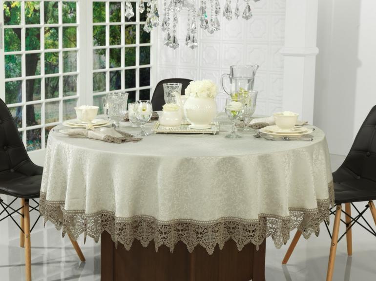 Toalha de Mesa com Bordado Guipir Fácil de Limpar Redonda 180cm - Elizabeth Bege e Taupe - Dui Design