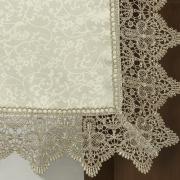 Trilho de Mesa com Bordado Guipir Fácil de Limpar 45x170cm Avulso - Elizabeth Bege e Taupe - Dui Design