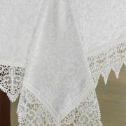 Toalha de Mesa com Bordado Guipir Fácil de Limpar Retangular 6 Lugares 160x220cm - Elizabeth Branco - Dui Design