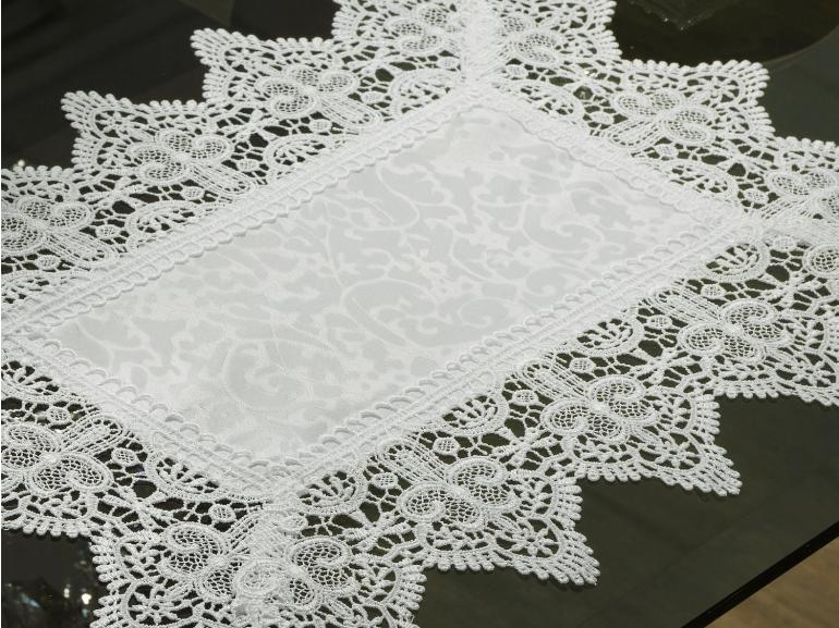 Jogo Americano 4 Lugares (4 peças) com Bordado Guipir Fácil de Limpar 35x50cm - Elizabeth Branco - Dui Design