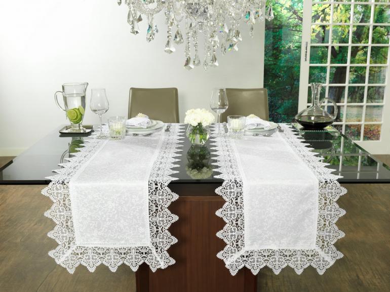 Trilho de Mesa com Bordado Guipir Fácil de Limpar 45x170cm Avulso - Elizabeth Branco - Dui Design