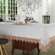 Toalha de Mesa com Bordado Guipir Fácil de Limpar Retangular 6 Lugares 160x220cm - Elizabeth Branco e Rosa - Dui Design