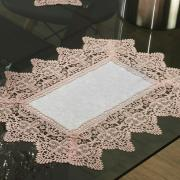 Jogo Americano 4 Lugares (4 peças) com Bordado Guipir Fácil de Limpar 35x50cm - Elizabeth Branco e Rosa - Dui Design