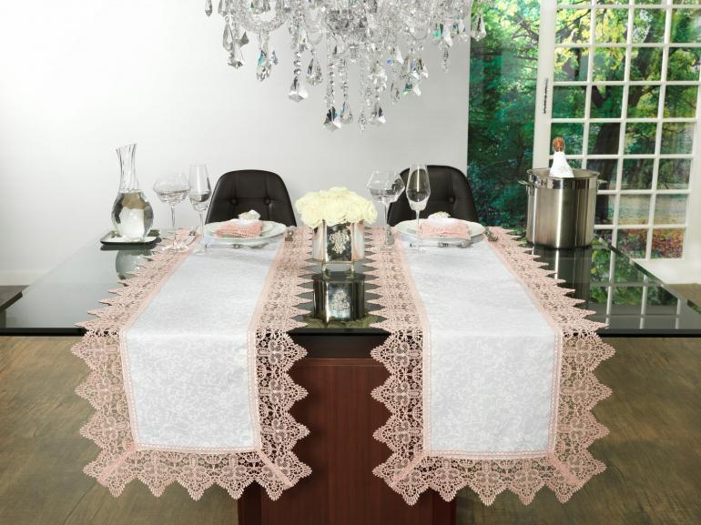 Trilho de Mesa com Bordado Guipir Fácil de Limpar 45x170cm Avulso - Elizabeth Branco e Rosa - Dui Design