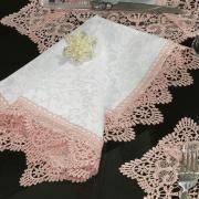 Kit: 4 Guardanapos com Bordado Guipir 50x50cm - Elizabeth Branco e Rosa - Dui Design