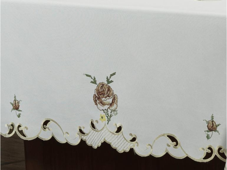 Toalha de Mesa com Bordado Richelieu Retangular 6 Lugares 160x220cm - Eloisa Rosas - Dui Design