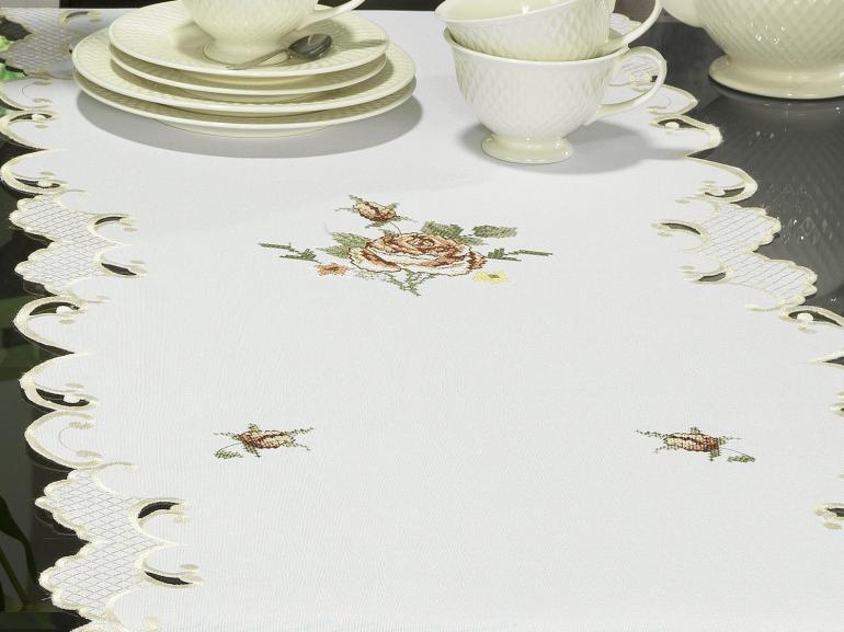 Trilho de Mesa com Bordado Richelieu 45x170cm Avulso - Eloisa Rosas - Dui Design