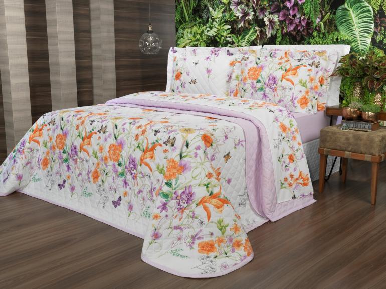 Kit: 1 Cobre-leito Solteiro + 1 Porta-travesseiro Percal 180 fios - Emilia Lilas - Dui Design