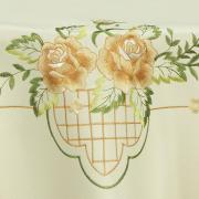 Toalha de Mesa com Bordado Richelieu Redonda 180cm - Emily Bege - Dui Design