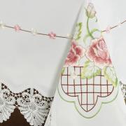 Toalha de Mesa com Bordado Richelieu Retangular 8 Lugares 160x270cm - Emily Rosa - Dui Design