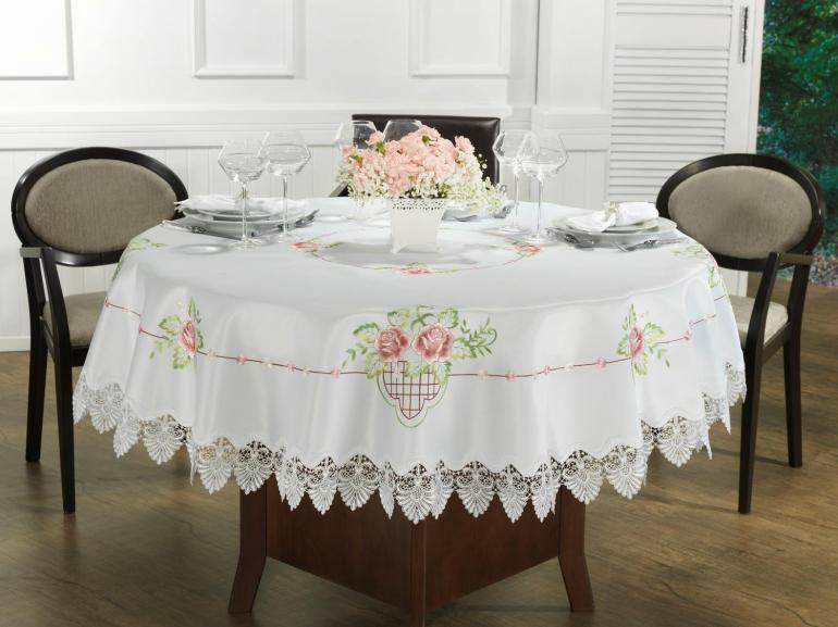 Toalha de Mesa com Bordado Richelieu Redonda 180cm - Emily Rosa - Dui Design