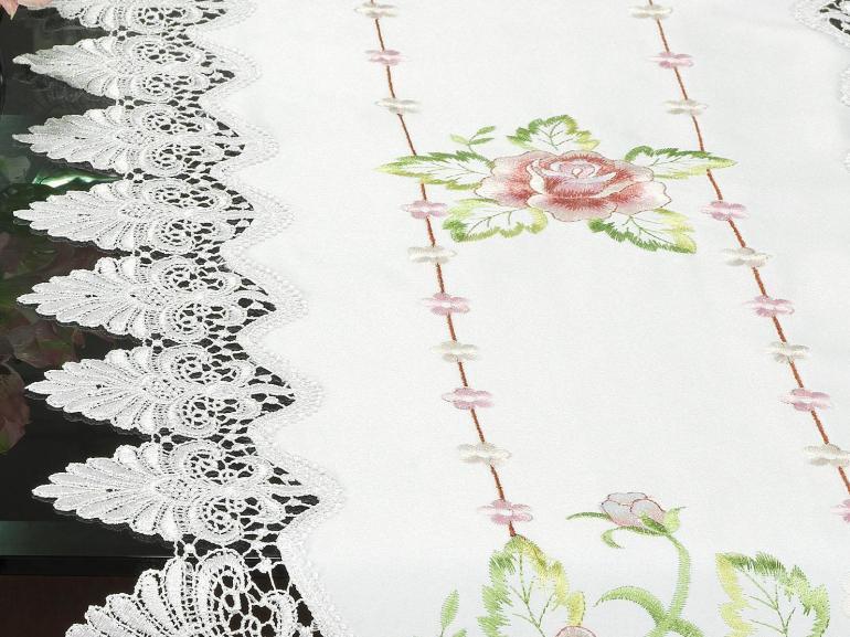 Trilho de Mesa com Bordado Richelieu 45x170cm Avulso - Emily Rosa - Dui Design