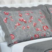 Kit: 1 Cobre-leito Casal Bouti de Microfibra Ultrasonic Estampada + 2 Porta-travesseiros - Emyko Vermelho - Dui Design