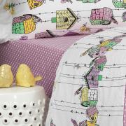 Jogo de Cama Solteiro Percal 200 fios - Enchante Rosa - Dui Design