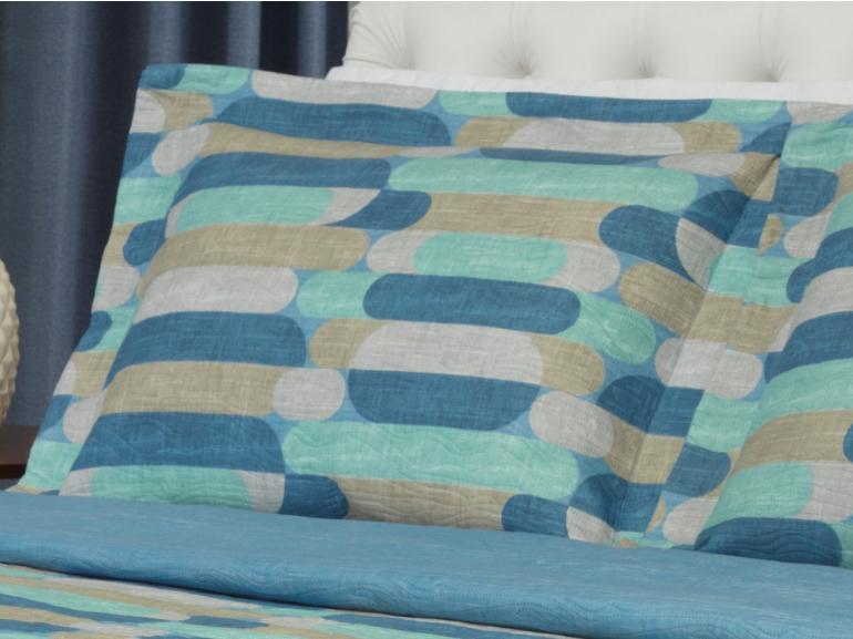Kit: 1 Cobre-leito Casal Bouti de Microfibra Ultrasonic Estampada + 2 Porta-travesseiros - Epoque Azul - Dui Design