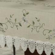 Toalha de Mesa de Linho com Bordado Richelieu Retangular 8 Lugares 160x270cm - Erika Bege - Dui Design