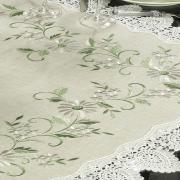 Centro de Mesa Quadrado de Linho com Bordado Richelieu 85x85cm - Erika Bege - Dui Design