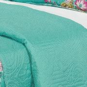 Kit: 1 Cobre-leito Casal Bouti de Microfibra Ultrasonic Estampada + 2 Porta-travesseiros - Esmeralda Turquesa - Dui Design