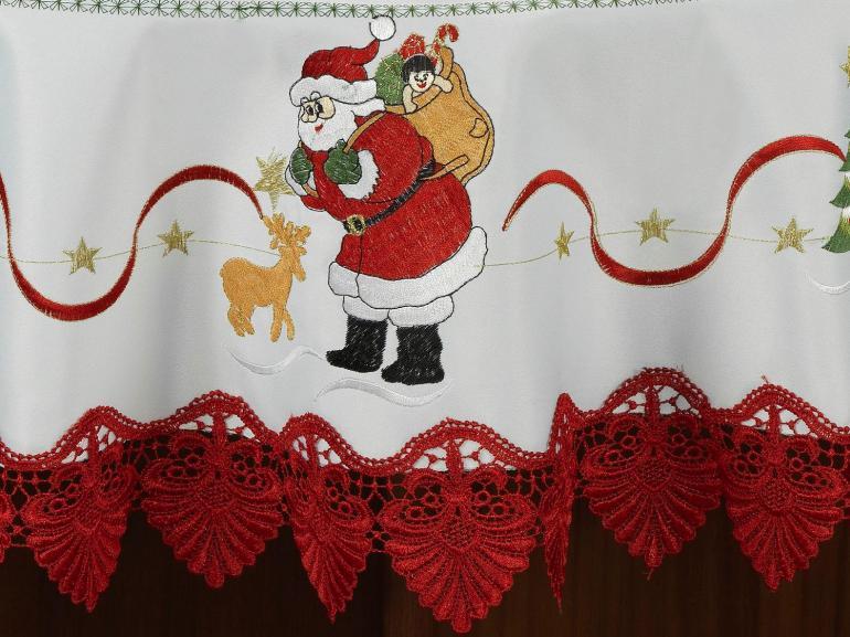 Toalha de Mesa Natal com Bordado Richelieu Redonda 180cm - Esperança Branco e Vermelho - Dui Design