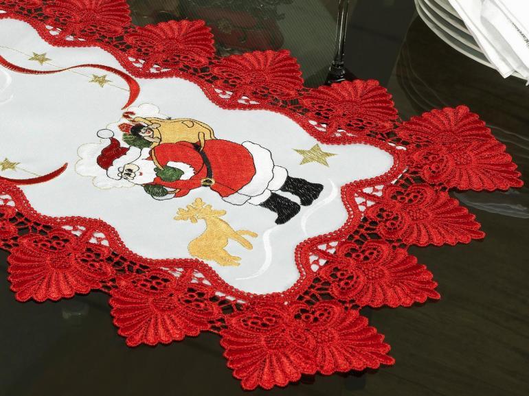 Trilho de Mesa Natal com Bordado Richelieu 40x85cm Avulso - Esperança Branco e Vermelho - Dui Design
