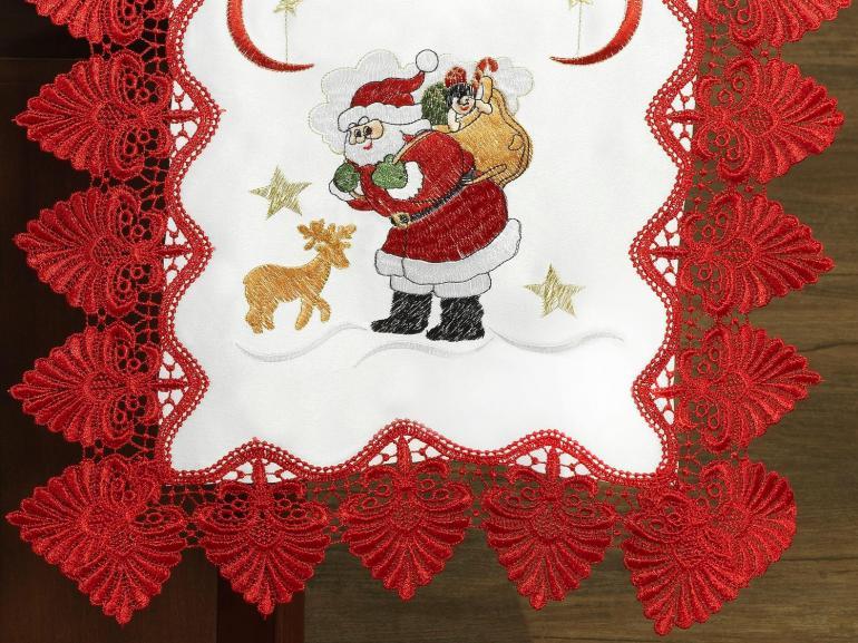 Trilho de Mesa Natal com Bordado Richelieu 45x170cm Avulso - Esperança Branco e Vermelho - Dui Design