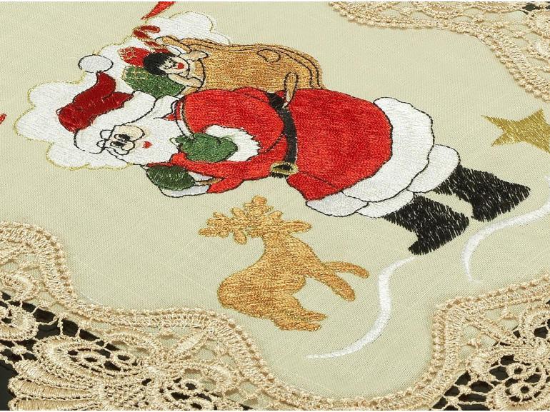 Trilho de Mesa Natal com Bordado Richelieu 40x85cm Avulso - Esperança Natural - Dui Design