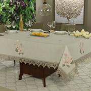 Toalha de Mesa de Linho com Bordado Richelieu Retangular 8 Lugares 160x270cm - Estela Bege - Dui Design