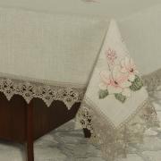 Toalha de Mesa de Linho com Bordado Richelieu Retangular 6 Lugares 160x220cm - Estela Bege - Dui Design