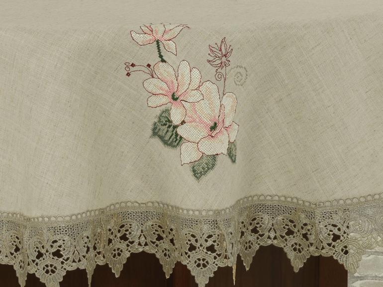 Toalha de Mesa de Linho com Bordado Richelieu Redonda 180cm - Estela Bege - Dui Design