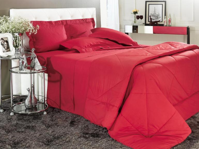 4690f23aa4 Edredom Solteiro Percal 200 fios 100% Algodão - Everyday Vermelho - Dui  Design