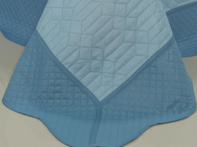 Kit: 1 Cobre-leito Solteiro Bouti de Microfibra Ultrasonic + 1 Porta-travesseiro - Evoque Azul - Dui Design