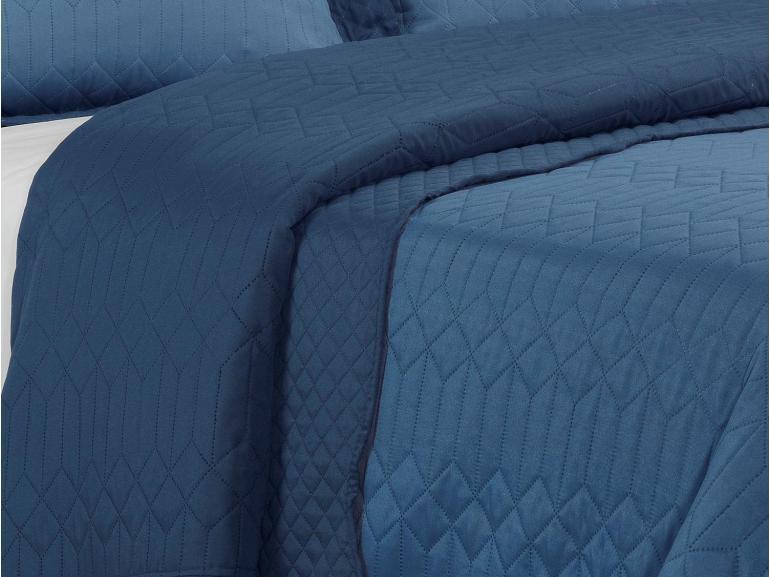 Kit: 1 Cobre-leito Casal Bouti de Microfibra Ultrasonic + 2 Porta-travesseiros - Evoque Indigo - Dui Design