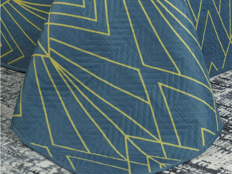 Kit: 1 Cobre-leito Casal Bouti de Microfibra Ultrasonic Estampada + 2 Porta-travesseiros - Fabrizio Indigo - Dui Design