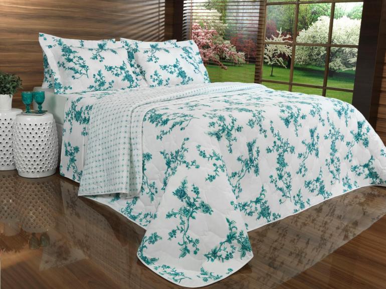 Kit: 1 Cobre-leito Queen + 2 Portas-travesseiro 150 fios - Faianca Verde - Teka