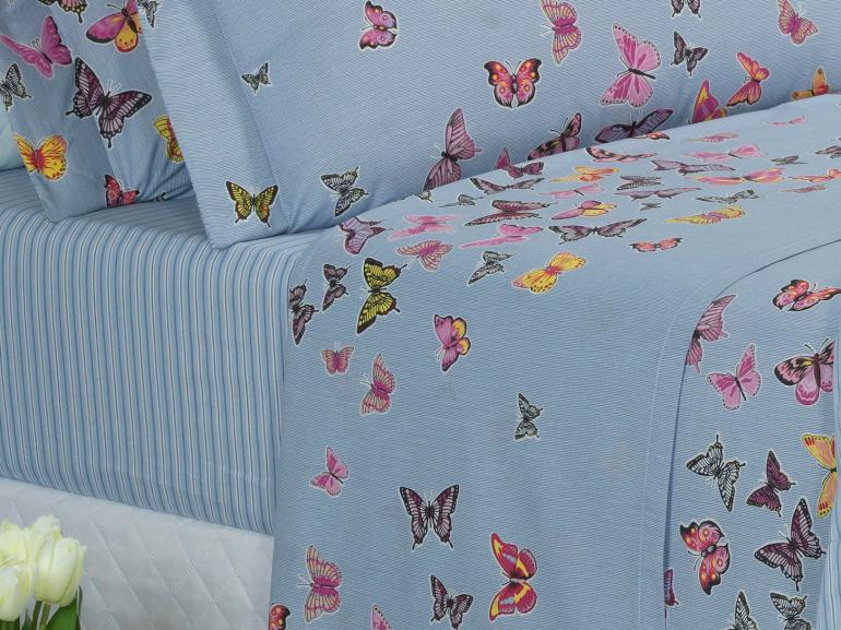 Jogo de Cama Casal 150 fios - Farfalla Azul - Dui Design