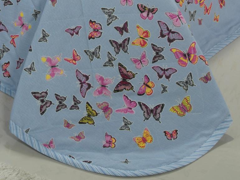 Kit: 1 Cobre-leito Casal + 2 Porta-travesseiros 150 fios - Farfalla Azul - Dui Design