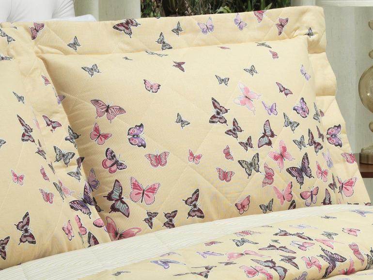 Kit: 1 Cobre-leito Casal + 2 Porta-travesseiros 150 fios - Farfalla Marfim - Dui Design
