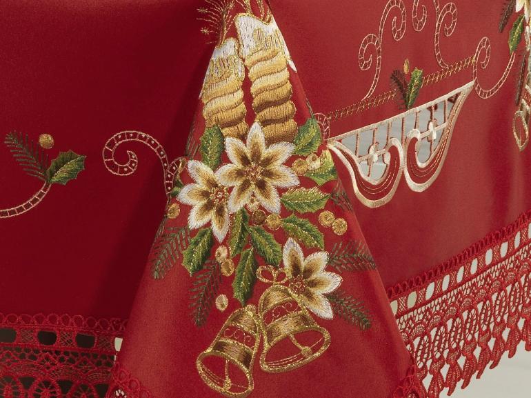 Toalha de Mesa Natal com Bordado Richelieu Quadrada 4 Lugares 160x160cm - Felicidade Vermelho - Dui Design