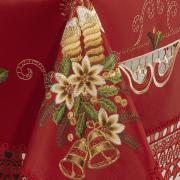Toalha de Mesa Natal com Bordado Richelieu Retangular 8 Lugares 160x270cm - Felicidade Vermelho - Dui Design