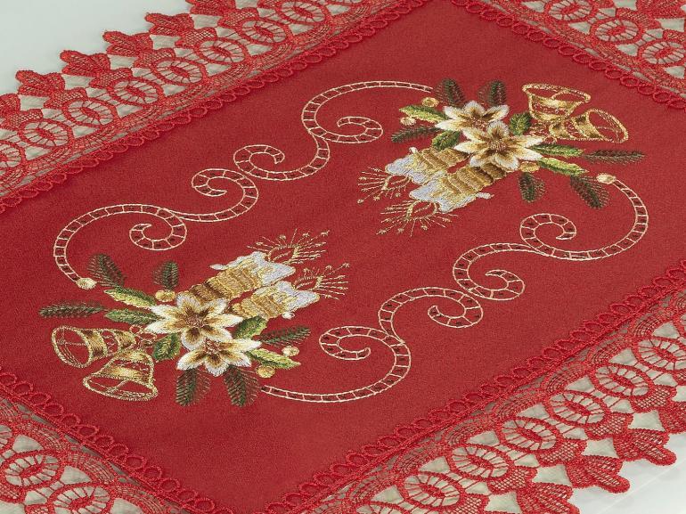 Jogo Americano Natal 4 Lugares (4 peças) com Bordado Richelieu 35x50cm - Felicidade Vermelho - Dui Design
