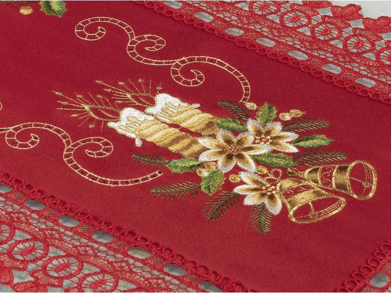 Trilho de Mesa Natal com Bordado Richelieu 40x85cm Avulso - Felicidade Vermelho - Dui Design