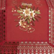 Trilho de Mesa Natal com Bordado Richelieu 45x170cm Avulso - Felicidade Vermelho - Dui Design