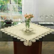 Centro de Mesa com Bordado Guipir Fácil de Limpar 85x85cm Avulso - Felicity Pérola - Dui Design