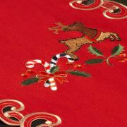 Trilho de Mesa Natal com Bordado Richelieu 40x85cm Avulso - Feliz Natal Vermelho - Dui Design
