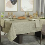 Toalha de Mesa Fácil de Limpar Quadrada 4 Lugares 160x160cm - Fenix Bege - Dui Design