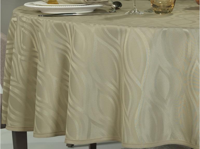 Toalha de Mesa Fácil de Limpar Redonda 220cm - Fenix Bege - Dui Design