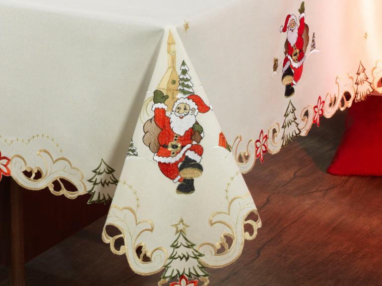 Toalha de Mesa Natal com Bordado Richelieu Quadrada 8 Lugares 220x220cm - Festiva Natural - Dui Design